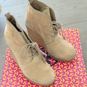Tory Burch Denise Suede Wedge Booties Size 6.5
